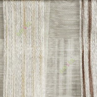 Brown gold beige color vertical stripes with transparent texture finished surface weaving pattern sheer fabric