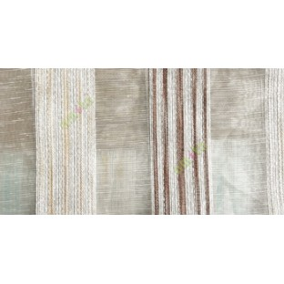 Dark brown gold white color vertical stripes with transparent texture finished surface weaving pattern sheer fabric