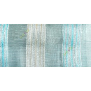 Aqua blue gold white color vertical stripes with transparent texture finished surface weaving pattern sheer fabric