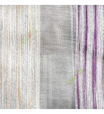 Purple gold white color vertical stripes with transparent texture finished surface weaving pattern sheer fabric