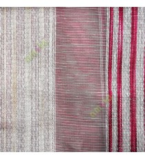 Maroon white gold color vertical stripes with transparent texture finished surface weaving pattern sheer fabric