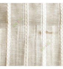White beige color vertical stripes digital lines wide pattern transparent net finished background sheer curtain fabric