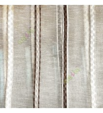 Dark brown beige color vertical stripes digital lines wide pattern transparent net finished background sheer curtain fabric