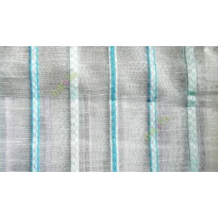Blue white green color vertical stripes digital lines wide pattern transparent net finished background sheer curtain fabric