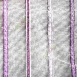 Purple pink white color vertical stripes digital lines wide pattern transparent net finished background sheer curtain fabric