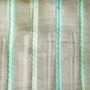Blue green white color vertical stripes digital lines wide pattern transparent net finished background sheer curtain fabric
