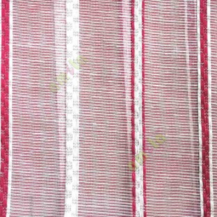 Maroon cream color vertical stripes digital lines wide pattern transparent net finished background sheer curtain fabric
