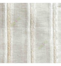 Beige white color vertical weaving stripes with transparent net finished surface texture lines sheer fabric