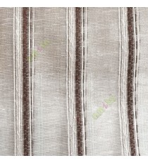 Dark brown cream white color vertical weaving stripes with transparent net finished surface texture lines sheer fabric