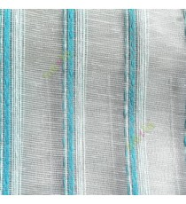 Aqua blue cream color vertical weaving stripes with transparent net finished surface texture lines sheer fabric