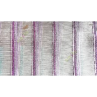 Purple white pink color vertical weaving stripes with transparent net finished surface texture lines sheer fabric