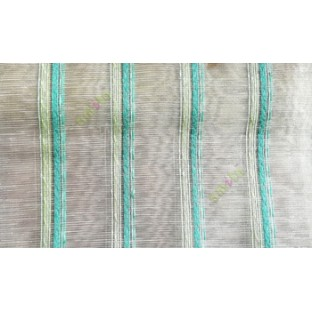 Aqua blue green white color vertical weaving stripes with transparent net finished surface texture lines sheer fabric