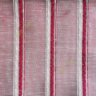Maroon cream color vertical weaving stripes with transparent net finished surface texture lines sheer fabric