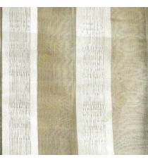 Gold brown white color vertical bold stripes with texture transparent surface with stripe border lace design vertical lines sheer fabric