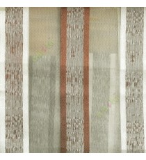 Dark brown cream color vertical bold stripes with texture transparent surface with stripe border lace design vertical lines sheer fabric