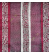 Maroon cream color vertical bold stripes with texture transparent surface with stripe border lace design vertical lines sheer fabric