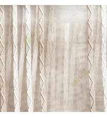 Gold cream white color vertical zigzag weaving stripes with transparent net finished surface texture sheer fabric