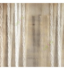 Beige white color vertical zigzag weaving stripes with transparent net finished surface texture sheer fabric