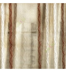 Dark brown cream beige color vertical zigzag weaving stripes with transparent net finished surface texture sheer fabric