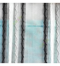 Black grey white color vertical zigzag weaving stripes with transparent net finished surface texture sheer fabric