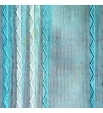 Aqua blue green color vertical zigzag weaving stripes with transparent net finished surface texture sheer fabric
