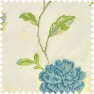 Big blue rose flower with green and blue mixed leaves brown stem on a half white base silk slub texture sheer curtain