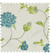 Big blue rose flower with green and blue leaves green light brown mixed stem on a cream base silk slub texture main curtain