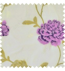 Big dark and light purple rose flower with green leaves green beige stem on a cream base silk slub texture sheer curtain
