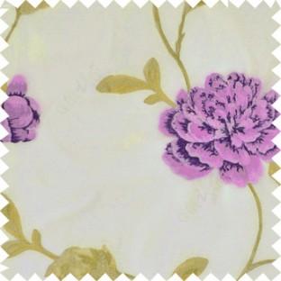 Big dark and light purple rose flower with green leaves green beige stem on a cream base silk slub texture sheer curtain