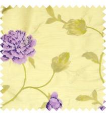 Big dark and light purple rose flower with dark green leaves green and light brown stem on a half white base silk slub texture main curtain