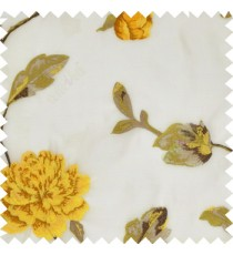 Big yellow rose flower with green leaves brown stem on a half white base silk slub texture sheer curtain