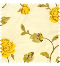Big yellow rose flower with green leaves on a half white base silk slub texture main curtain