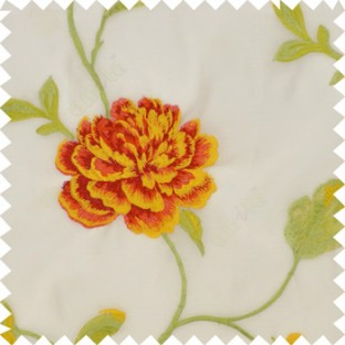 Big bright red and yellow rose flower with green and yellow mixed leaves brown stem on a half white base silk slub texture sheer curtain