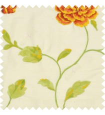 Big bright red and yellow rose flower with green and yellow mixed leaves brown stem on a half white base silk slub texture main curtain