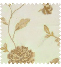 Big brown rose flower with light brown leaves beige stem on a cream base silk slub texture sheer curtain