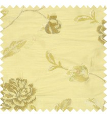 Big brown and beige rose flower with light brown leaves green and light brown stem on a half white base silk slub texture main curtain