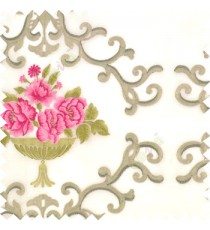 Pink brown grey cream color beautiful damask embroidery design with beautiful decorative rose flower small leaves transparent base fabric poly sheer curtain
