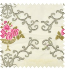 Pink brown grey cream color beautiful damask embroidery design with beautiful decorative rose flower small leaves transparent base fabric poly main curtain