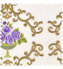 Purple brown green color beautiful damask embroidery design with beautiful decorative rose flower small leaves transparent base fabric poly sheer curtain