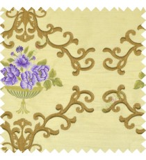 Purple brown green color beautiful damask embroidery design with beautiful decorative rose flower small leaves transparent base fabric poly main curtain