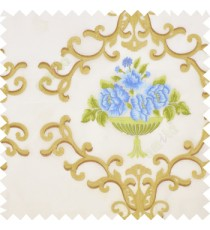 Blue green brown cream color beautiful damask embroidery design with beautiful decorative rose flower small leaves transparent base fabric poly sheer curtain