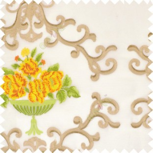 Yellow green beige white color beautiful damask embroidery design with beautiful decorative rose flower small leaves transparent base fabric poly sheer curtain