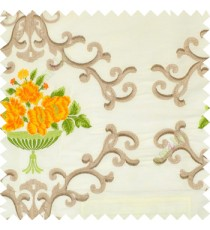 Yellow green beige white color beautiful damask embroidery design with beautiful decorative rose flower small leaves transparent base fabric poly main curtain