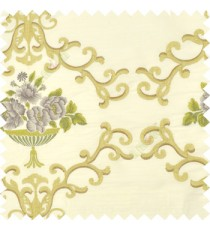 Dark green brown cream beige color beautiful damask embroidery design with beautiful decorative rose flower small leaves transparent base fabric poly main curtain