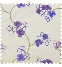 Dark and light purple cream color beautiful summer Japanese flower with embroidery designs transparent base fabric poly main curtain