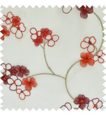 Red white color beautiful summer Japanese flower with embroidery designs transparent base fabric poly sheer curtain