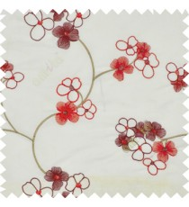 Red white color beautiful summer Japanese flower with embroidery designs transparent base fabric poly main curtain