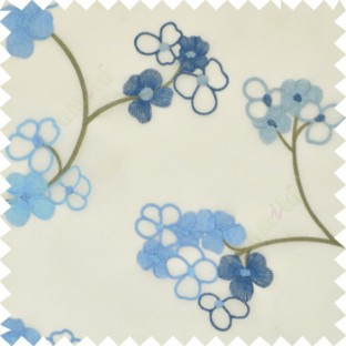 Aqua blue color beautiful summer Japanese flower with embroidery designs transparent base fabric poly sheer curtain