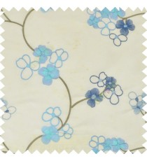 Aqua blue color beautiful summer Japanese flower with embroidery designs transparent base fabric poly main curtain