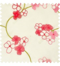 Pink cream color beautiful summer Japanese flower with embroidery designs transparent base fabric poly sheer curtain